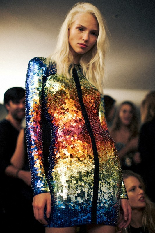 Sasha Luss backstage at Emilio Pucci S/S 14 in Milan, taken by Lea Colombo for Dazed Digital