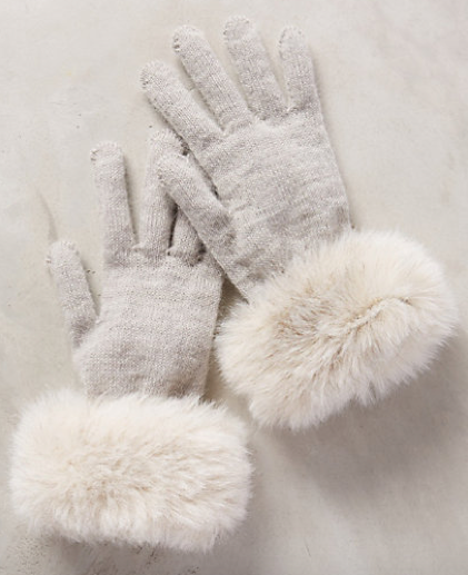 Anthropologie Faux Fur Cuff Gloves, $30